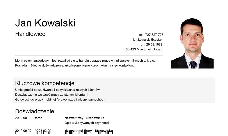 Szablon CV Professional ze zdjęciem po prawej